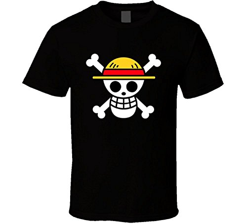 SANHUI Creative One Piece Logo Short Sleeve O-Neck T Shirt for Men (M) Black