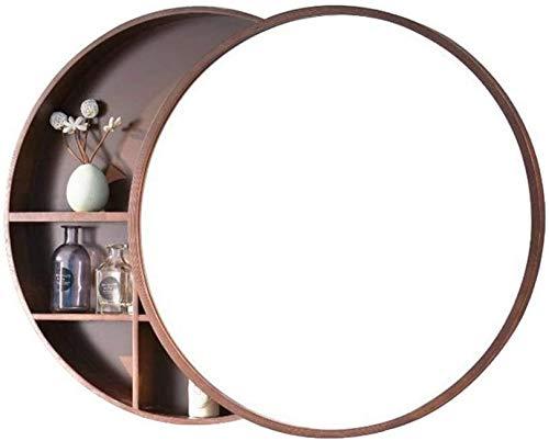 WWJ 60cm Redondo, con Gabinete De Almacenamiento Maquillaje CosméticoEspejoDe Pared (Color: B, Tamaño: 50CM)
