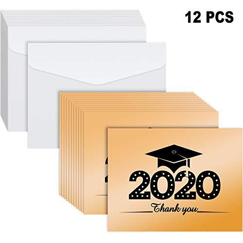 12 Stücke 2020 Abschluss Karten Abschluss Gruß Karten Danke Karten mit 12 Stücke Umschlägen für Lehrer Klassenkameraden Freunde Abschluss Party