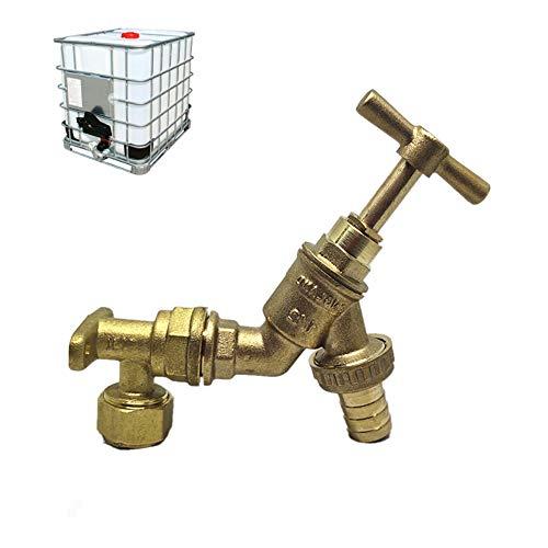 IBC - Adaptador de tanque para jardín al aire libre, grifo de cabeza de caballo de agua de 1/2 pulgadas de latón con placa de pared de latón (A)