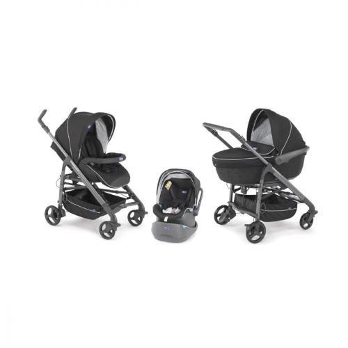 Chicco Trio Love - Sistema 3 en 1: capazo, carrito y coche (grupo 0+), 10,4 kg, color negro
