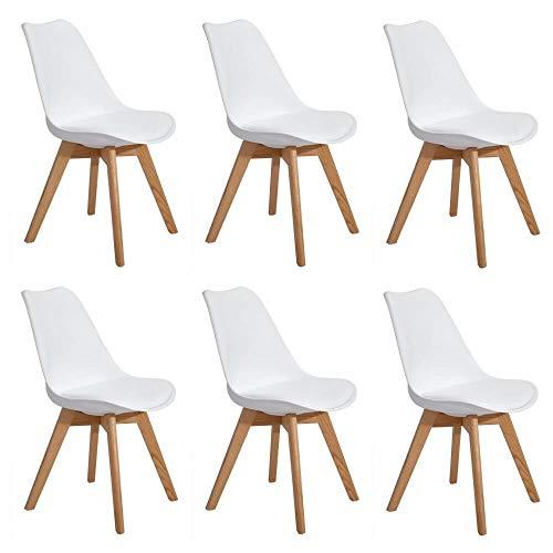 Milani Home s.r.l.s. Set di 6 Sedie di Design Moderne in Polipropilene Bianco E Legno Massello di Faggio per Sala da Pranzo Locale Bar Ristorante