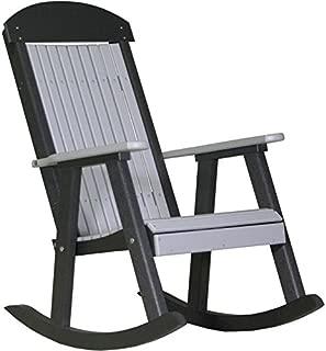 LuxCraft PolyTuf Outdoor Poly Porch Rocker Dove Gray & Black
