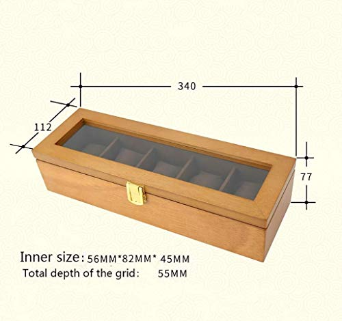 Decoratieve box Sieraden kast Retro houten glazen zonnedak kijken box vijf raster horloge display box sieraden armband doos opbergdoos grote sieraden doos Juwelendoos (Color : Yellow)