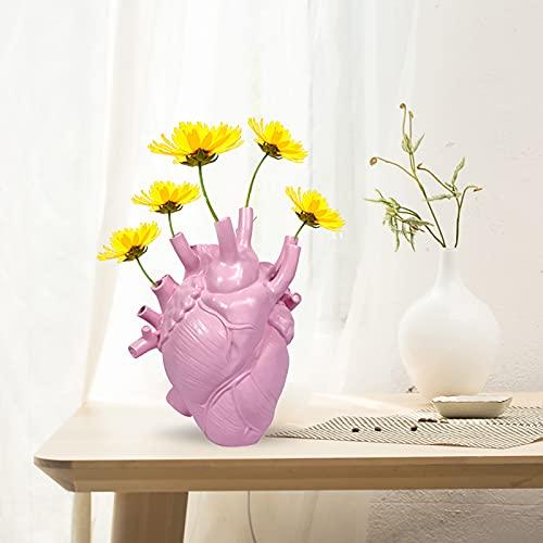 SOBW jarrón decorativo, ornamentos, corazón anatómico, maceta, flores, botella, jarrón seco, hogar,...