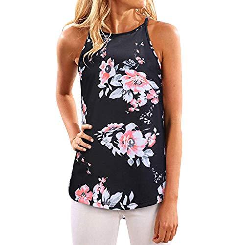 MOMOXI Chaleco para Mujer, Camisa sin Mangas con Estampado de Verano de Mujer Blusa Camiseta sin Mangas Informal Camiseta
