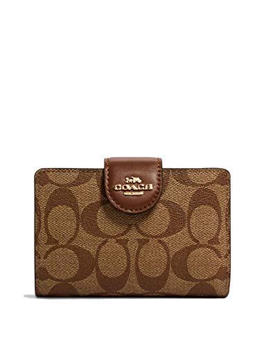 Coach Women's Medium Corner Zip Wallet in Signature Canvas (Khaki -...
