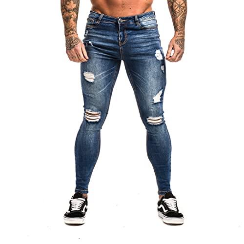 MG MORENGAR Jeans Texas Skinny Azul Rotos para Hombre – Vaqueros elásticos Ajustado Color Azul. Tejanos de...