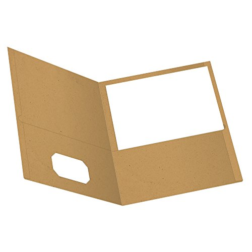 EarthWise by Oxford Two-Pocket Folders, Natural, Letter Size, 25 per Box, (78542)