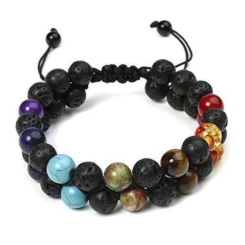 ARZASGO Pulseira masculina e feminina com pedras preciosas naturais de 7 chacras de cristal colorido vulcânica pedras vulcânicas elásticas para ioga, meditação, oração, proteção de cura