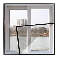 調整可能 網戸 窓用 張り替え, DIY ガラス繊維 小窓 防虫網 簡易網戸 蚊よけ フルフレーム 穴あけは不要 のために適した 寝室 キッチン リビングルーム-グレーヤーン-140x200cm(55x79inch)