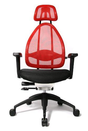 Topstar Open Art 2010 ergonomischer Bürostuhl, Schreibtischstuhl, inkl. höhenverstellbare Armlehnen, Rückenlehne und Kopfstütze, Stoff rot
