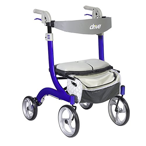 Drive Medical Nitro DLX Euro Style Walker Rollator, Sleek Blue