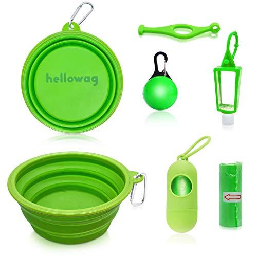 Hellowag - Dog Travel Kit - Large 1 Liter Silicone Collapsible Bowl, Clip On Collar Light, Poop Bag Holder, Hand Sanitizer Bottle, Water Bottle Holder. For Hiking, Walking, Camping and Dog Parks