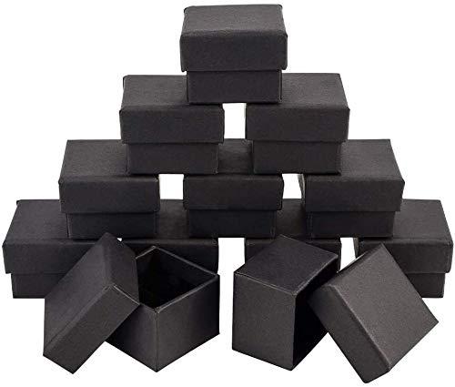 nbeads ギフトボックス 20個セット 4.5x4.5x3cm アクセサリー ラッピング ラッピングボックス 正方形 箱 パッケージ プレゼント 長方形 包装 贈り物 ブラック