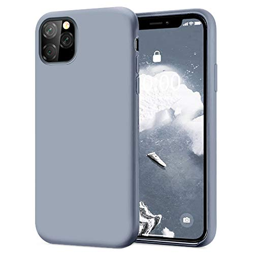 KUMEEK iPhone 11 Pro Max Case, Soft Silicone Gel Rubber Bumper Case Anti-Scratch Microfiber Lining Hard Shell Shockproof Full-Body Protective Case Cover for Apple iPhone 11 Pro Max-Lavender Grey