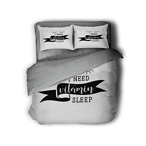 """Miles Ralph I Need Vitamin Sleep Phrase King Bed Comforter Gifts for Teenage Girls 68""""x86"""" inch Duvet Cover Pillowcase"""