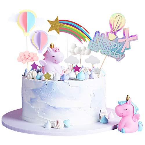 AOTWAN Einhorn Tortendeko Geburtstag Kuchen Kinder Einhorn Kuchen Topper 27er Set einschließlich Einhorn, Happy Birthday, Wolke, Sterne, 3D Heißluftballon Kuchendekoration für Kinder Mädchen Junge
