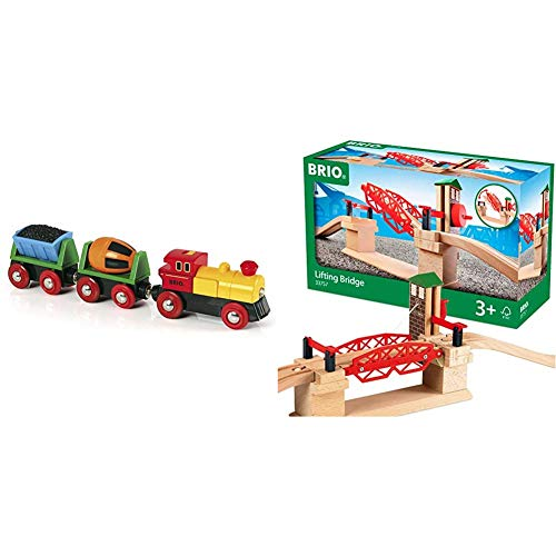 BRIO World - 33319 Battery Operated Action Train | 3 Piece Toy Train for Kids Ages 3 and Up & 33757 Lifting Bridge | Toy Train Accessory with Wooden Track for Kids Age 3 and Up