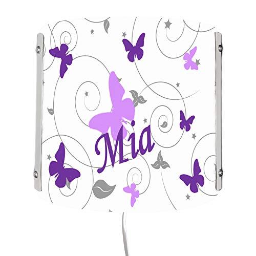 CreaDesign WA-1032-30 , Schmetterling flieder lila, Kinderzimmer Wandlampe personalisiert mit Namen, Nachtlicht / Schlummerlicht für Steckdose, E14, 22 x 22,5 x 85 cm