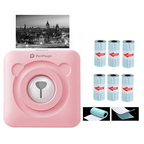 JEPODOR Peripage 304 DPI Pocket Fotodrucker Mini Photo Bluetooth Wireless Aufkleber Drucker Für Handy Android und IOS(304DPI Pink + 6 selbstklebendes Papier)