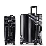 Marco de aluminio Rolling equipaje Spinner Girl Trolley Bolsa de viaje 20 pulgadas hombres negocios llevar en maletas rueda, Black, 26'/66 cm,