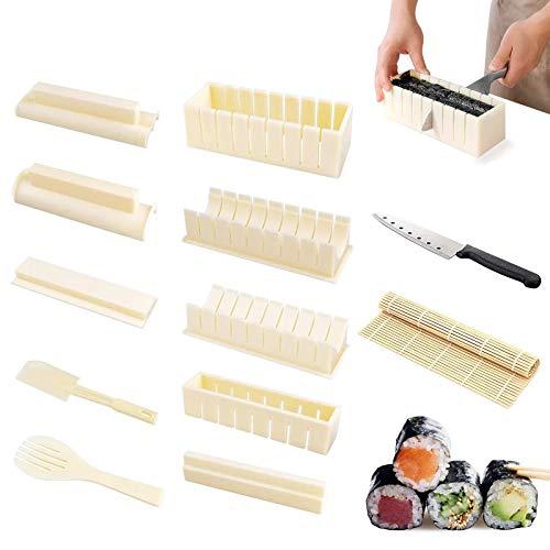 Heiqlay Sushi Making Kit, Moldes para Sushi Completo, Juego de Herramientas de Sushi para Principiantes, Juego de 10 Piezas para Sushi, 1 Cuchillo, 1 Rodillo de Sushi, Color Blanco Crema