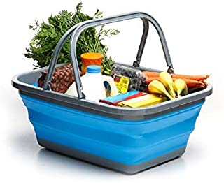 Collapsible Tub with Handle – 29 L Portable Outdoor Picnic Basket/Crate - Foldable Shopping Bag - Space Saving Storage Con...
