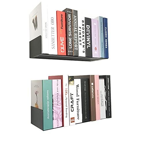 Jingchengmei - Set di 2 librerie galleggianti a forma di U per libri, DVD, CD (2 pezzi)