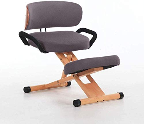 FACAIA Cotton Linen Posture Correction Orthopedic Kneel Stool Wooden Office Ergonomic Kneeling Chairs Backrest and Armrest Kneeling Chair (Color : Brown)