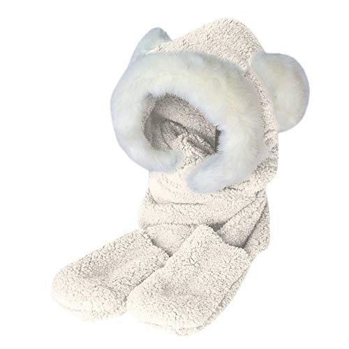 Amphia - Damen Kunstpelz Winter warme Flauschige Kapuze Schal Hut Snood Pocket Hats Handschuhe Ohren,Hasenohren Wärme verdicken Bequeme Hutschal Handschuhe dreiteilig(White)