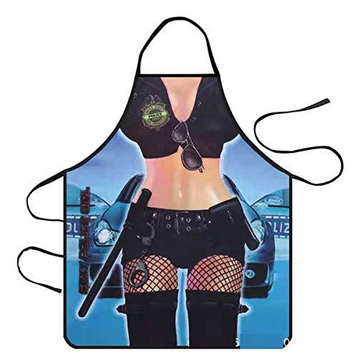 Funny Novelty Sexy Delantal de cocina Delantal de Cocina Barbacoa Regalo Divertido Delantal Divertido de Cocina, Sexy Novedad Cocina Barbacoa Fiesta Delantal Regalo-Mujer policía