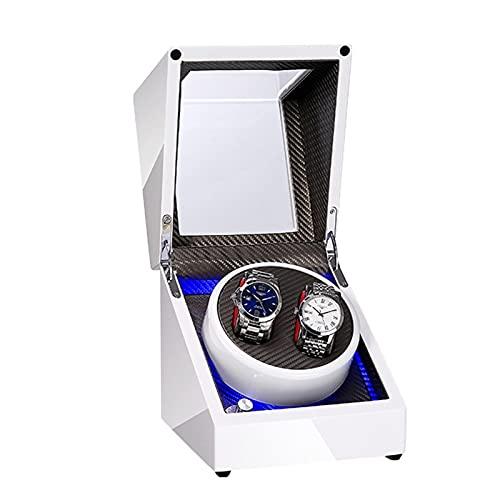 GUOYUN Cajas Giratorias 5 Modos para Relojes Caja Relojes Automaticos Caja De Relojes Mecánicos Caja Bobinadora (Color : White+Silver Gray Carbon Fiber, Size : 2+0)