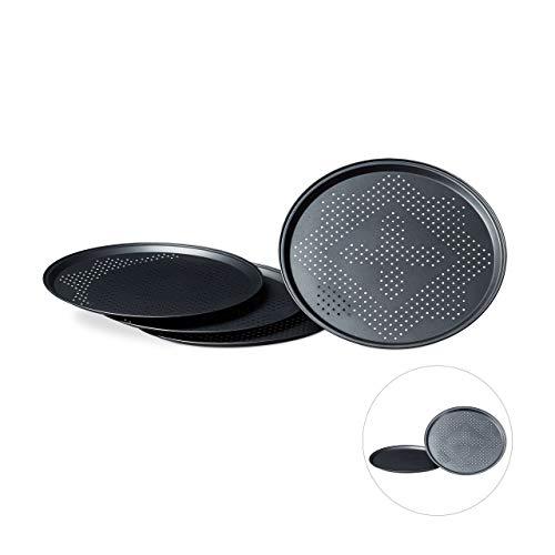 Relaxdays 10020494 Plaques de cuisson pizza rondes avec perforations diamètre intérieur 29 cm lot de 4 revêtement antiadhésif, anthracite