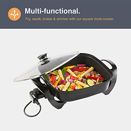 VonShef Square Multi Cooker - 1500W Multi-function Electric Frying Pan with Glass Lid, Adjustable Temperature Control & Cool Touch Handles - Non-Stick & Easy Clean - Fry, Sauté, Braise, Brown & Simmer