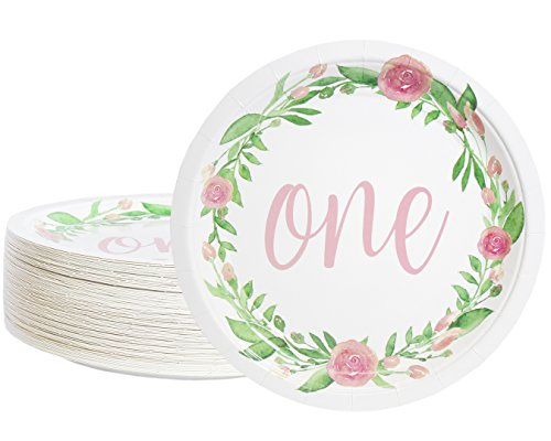 Paper Plates in Floral Design, 1st Birthday Party Supplies (9 in, 80 Count)