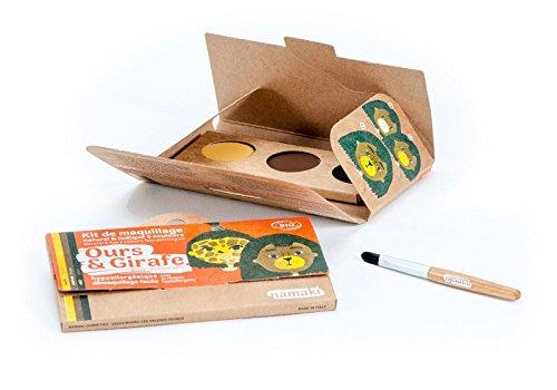 NAMAKI - Kit de maquillage pour enfants - 3 couleurs pour le visage - Ours et girafe - Jaune, marron, noir - Avec pinceau - Couleurs naturelles et hypoallergéniques - 7.5g