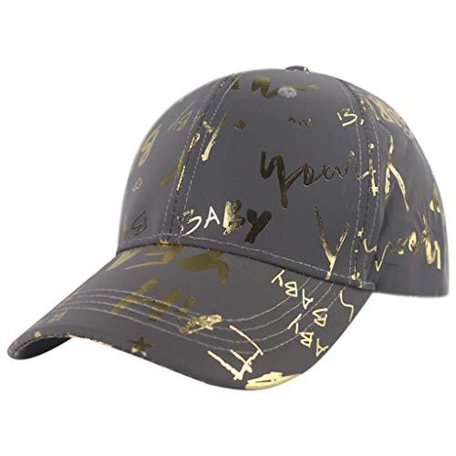 Qirun Casquette de Baseball réfléchissante Unisexe Lettres métalliques bébé Night Run Rave Snapback Hat