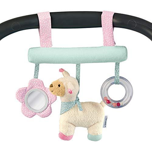 Sterntaler Spielzeug zum Aufhängen mit Klettverschluss, Kuschelzoo, Lama Lotte, Inklusive Rassel, Alter: Für Babys ab der Geburt, Rosa/Mint
