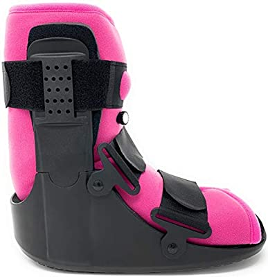 Superior Braces (Size Medium) Low Top, Low Profile Air Pump CAM Medical Orthopedic Walker Boot for Ankle and Foot Injuries with Pink Liner, Female Size 8 1/2 - 11 1/2, Men's Size 7 1/2 - 1, from SB SUPERIORBRACES