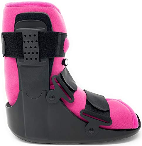 Superior Braces (Size Small) Low Top, Low Profile Air Pump CAM Medical Orthopedic Walker Boot for Ankle and Foot Injuries with Pink Liner, Female Shoe Size 6 - 8, Male Shoe Size 4 1/2 - 7