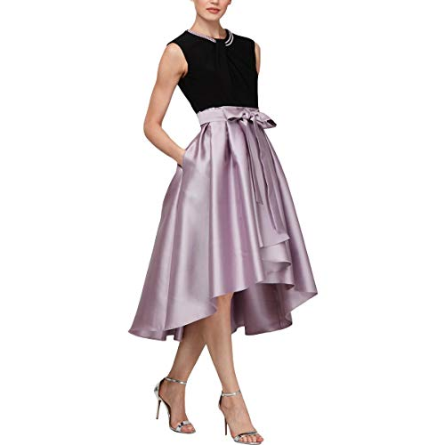 S.L. Fashions Women's Tea Length Tuck Neck Fit and Flare Dress, Lavender Mist, 14