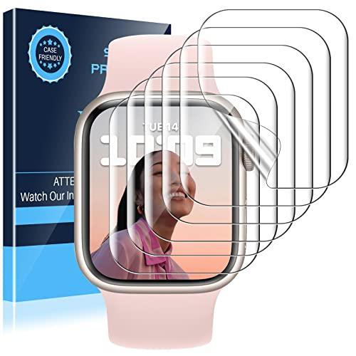 [6 Pack]LK Protector de Pantalla Compatible con Apple Watch Series 7 45mm con Series 6 SE Series 5 Series 4 44mm Protector de Pantalla,TPU-Film Alta Definición Protección
