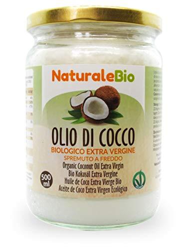 Aceite de coco extra virgen 500 ml - Crudo y prensado en frío - Puro y 100% biológico - Ideal para cabello, cuerpo y para uso alimentario - Aceite bio nativo no refinado. NaturaleBio