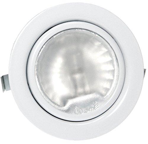 6er Set 12 Volt 20Watt Möbel Einbaustrahler Luna inklusive Halogenleuchtmittel/AMP Stecker und Kabel/Farbe: Weiß