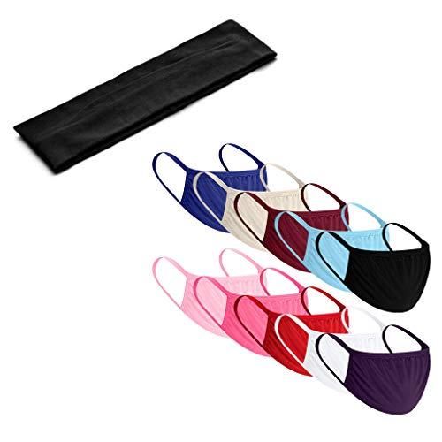 BOMING 10 Stück Mundschutz Waschbar Staubschutz Wiederverwendbar Stoff Gesichtsschutz Mit Tasche