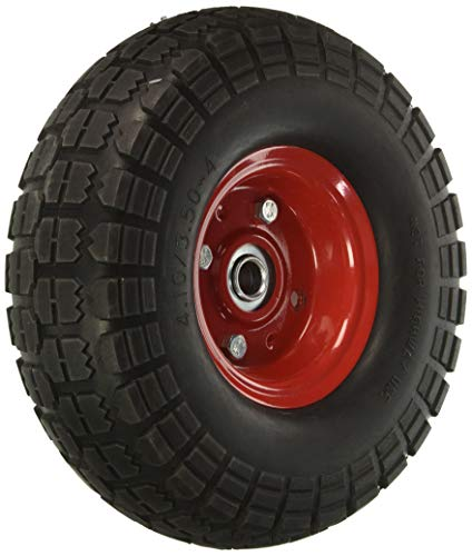 """10"""" Flat Free Hand Truck Tire and Wheel with 5/8"""" Center Shaft Hole"""