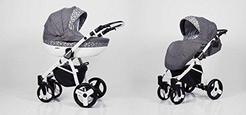 Hogartrend - Carrozzina / Passeggino TRIO per bambini, mod. Milano, 3 pezzi, con struttura in alluminio Colore 7