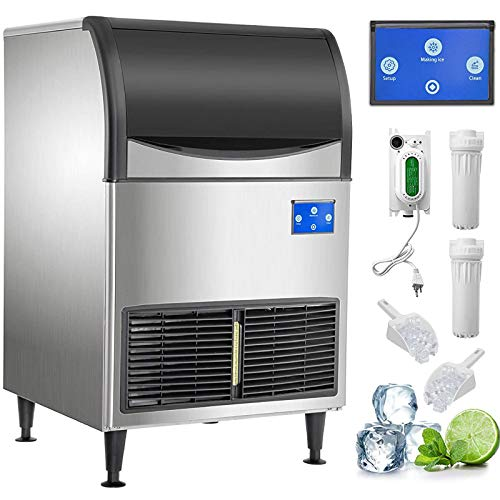 VEVOR 110V Commercial Ice Maker 265LBS/24H, Large Storage Bin 121LBS, Clear Cube, Upgraded LCD Panel w/WI-FI System, SECOP Compressor, Air-Cooled,...