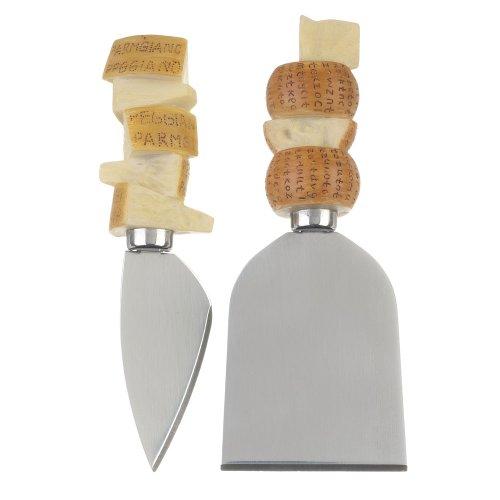 La Chaise Longue 32-K2-010 Couteaux à fromage AOC Coffret de 2 assortis Gris beige jaune et marron Acier inoxydable et résine 3 x 11 cm et 4,6 x 12 cm